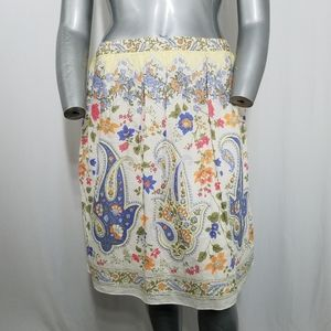 Talbots Skirt Midi Paisley Floral Cotton Lined 16